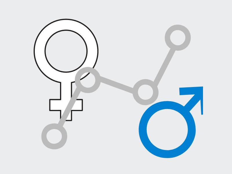 Male and female symbols with graph line