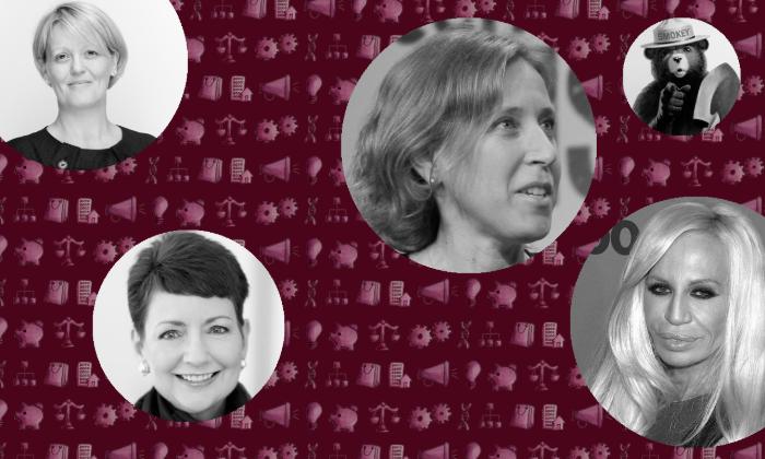 From left: RBS's Alison Rose; Duke Energy's Lynn Good; YouTube's Susan Wojcicki, TechCrunch/Flickr; Smokey Bear, National Agricultural Library; (bottom right) Donatella Versace, David Shankbone/Shankbone.