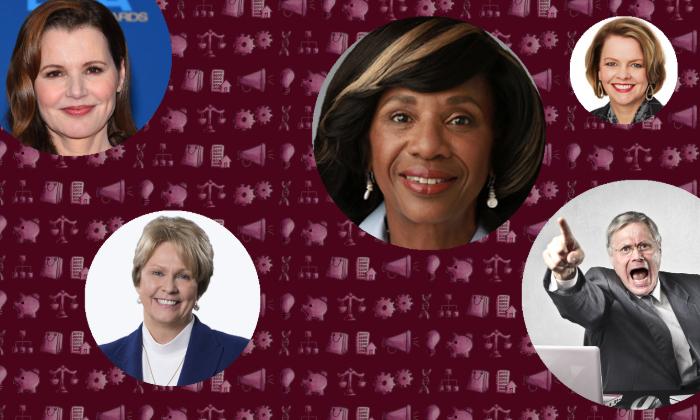 Geena Davis, Shutterstock; Occidental's Vicki Hollub; Locke Lord's Paulette Brown; Angry businessman, Shutterstock; JCPenney's Jill Soltau.