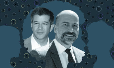Uber's ex-CEO, Travis Kalanick (left) and current CEO, Dara Khosrowshahi.