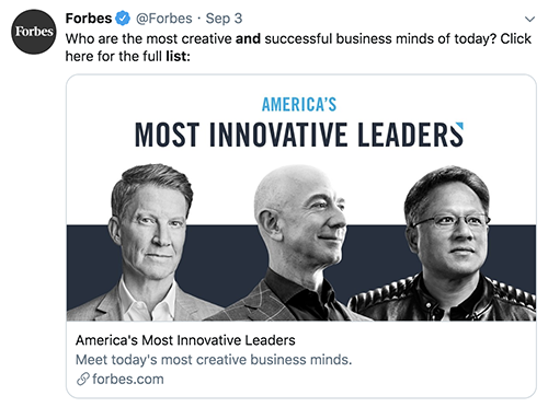 """Forbes """"Most Innovative Leaders"""" list"""