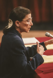 RBG during confirmation hearings, U. S. Supreme Court, July 1993.