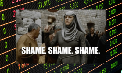 "Game of Thrones ""shame"" image with stock ticker background"