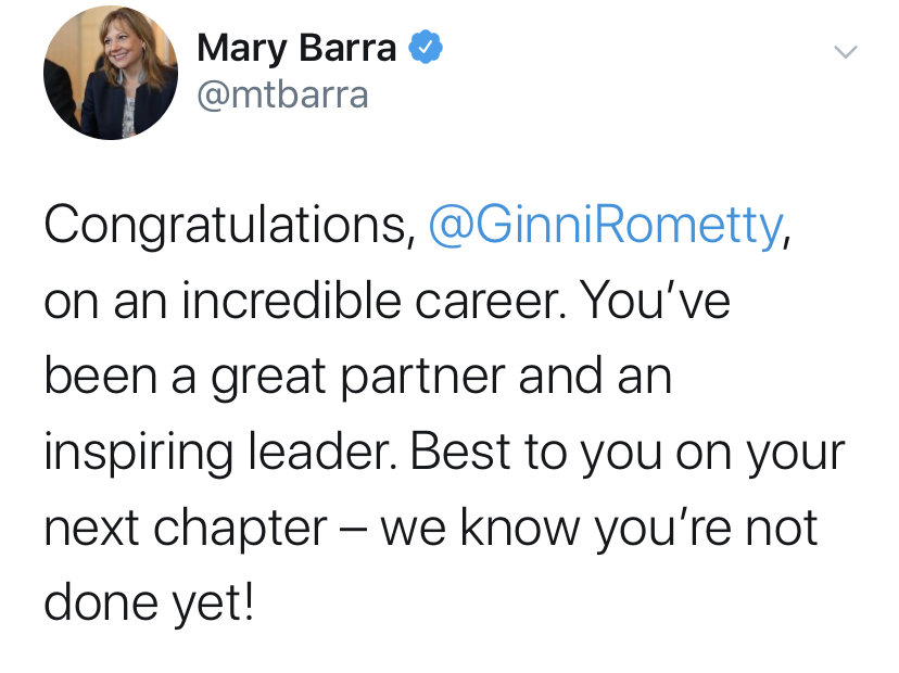 Mary Barra tweet regarding Ginni Rometty