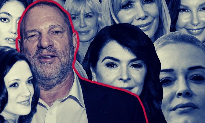 Harvey Weinstein and accusers including (clockwise from top left) Ambra Battilana Gutierrez, Daryl Hannah, Rosanna Arquette, Ashley Judd, Rose McGowan, Annabella Sciorra and Asia Argento.