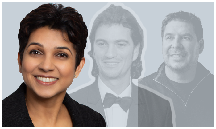 WeWork's first female board member, Kirthiga Reddy; former CEO Adam Neumann; current chair, Marcelo Claure