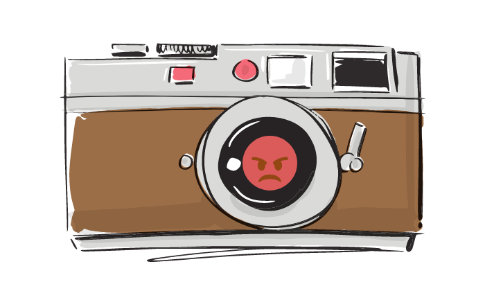 Vintage camera with angry face in lens