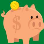 Unhappy looking piggy bank