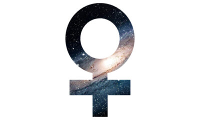 Female symbol with universe pattern