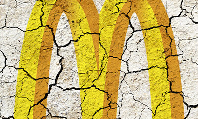 Cracked facade of the golden arches