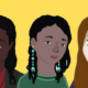 "An illustration of former Pinterest employees Ifeoma Ozoma, Aerica Shimizu Banks and Francoise Brougher, created by the campaign ""Change at Pinterest."""