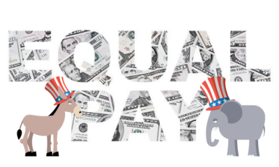 Equal Pay text with Democratic and Republican symbols