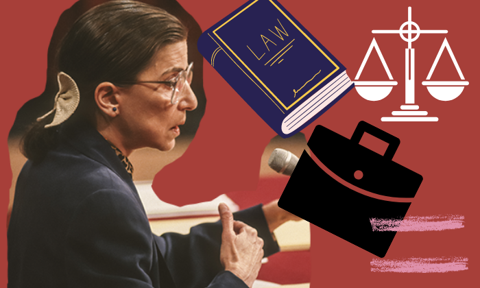 Collage featuring Justice Ruth Bader Ginsburg