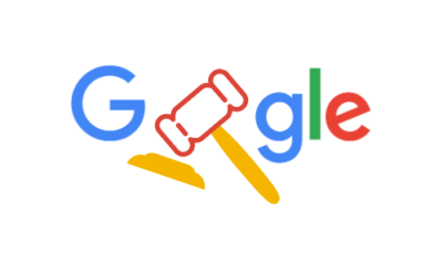 Google logo with gavel