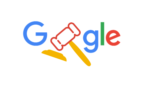 Google logo with gavel