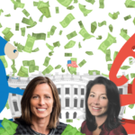 Nasdaq CEO Adena Friedman contributed to former VP Joe Biden; Oracle CEO Safra Catz is a donor to President Trump.
