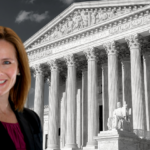 Justice Amy Coney Barrett with Supreme Court building