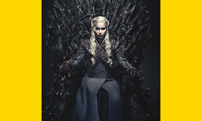 Daenerys from Game of Throne on the Iron Throne
