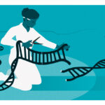 Jennifer Doudna and Emmanuelle Charpentier - Illustration of a scientist editing a gene