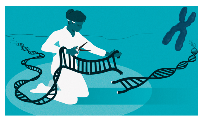 Jennifer Doudna and Emmanuelle Charpentier - Illustration of a scientist editing a gene