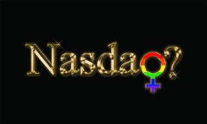 Nasdaq written in gold with rainbow female symbol