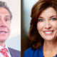 Outgoing Gov. Andrew Governor and incoming Gov. Kathy Hochul